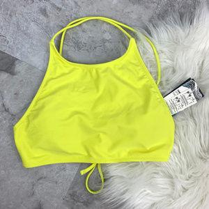 NWT Volcom Yellow Halter Bikini Top Sz L